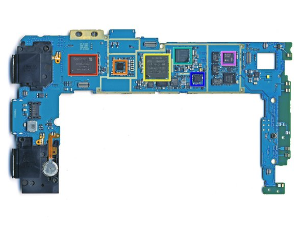 Image 1/1: Front side of the motherboard. These identifications are credited to [http://www.ubmtechinsights.com/|UBM TechInsights].