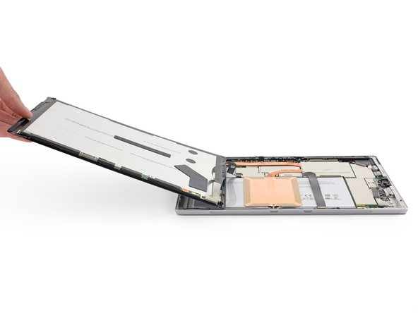 And of course, Microsoft has modified their connector design. The display connectors are relatively common press-on connectors—similar to an iPhone display—but they're trapped under snap-on metal shields.