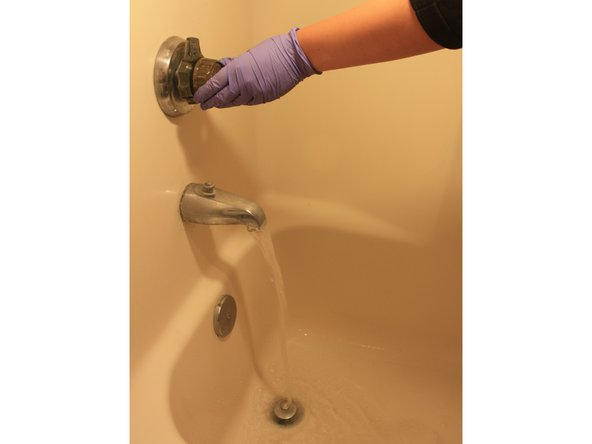 After an appropriate amount of time, run hot water down the drain to flush out any remaining blockage.