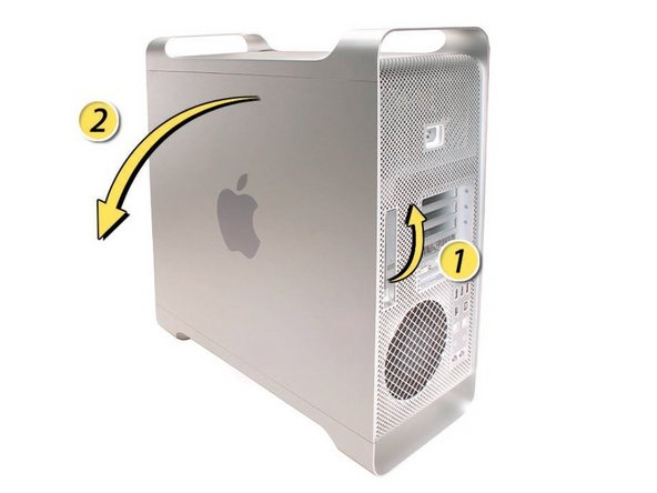 Begin by removing the side door on the Mac Pro.