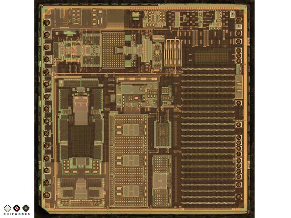 Image 1/2: The V654A ASIC die (seen on the left) converts the tiny capacitive signals from the GK10A MEMS die into a digital signal which is fed into the iPhone 4.