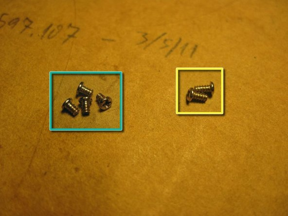 "The 3rd pic shows the difference between ""A"" screws (left) and ""B"" screws (right). There are 8 ""A"" and 2 ""B""."