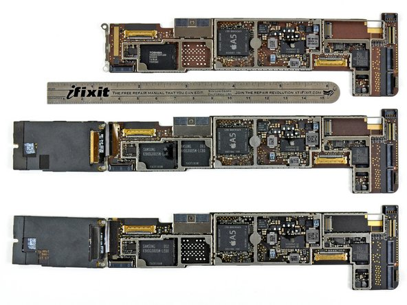 Shown here are the logic board in the Wi-Fi, GSM, and CDMA models (listed from top to bottom).