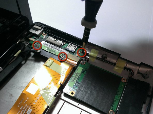 USB header card: Use the Phillips head screwdriver to unscrew the 3 screws from the USB header card.