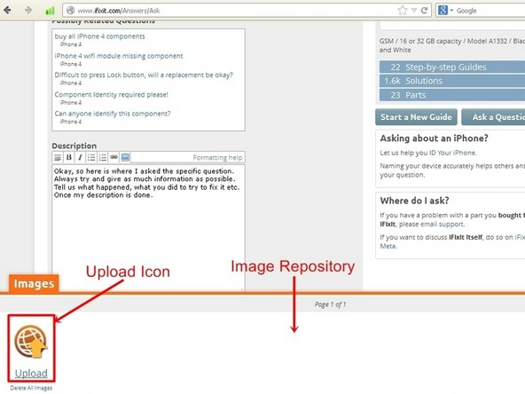 "Image 2/3: To open the import image dialog, click the ""Upload Icon"", this will open up a upload dialog window. From here images can be either placed into the question, by ""drag&drop"", only if they are already in the image repository. Most of the time it will require using the ""Browse Files"" icon. ."