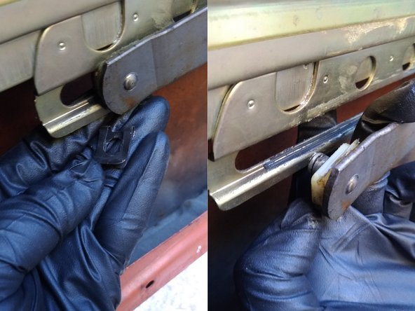 The arm that attaches to the bottom of the window uses a pin with clip and special washer