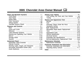 2005 Chevrolet Aveo Owner's Manual