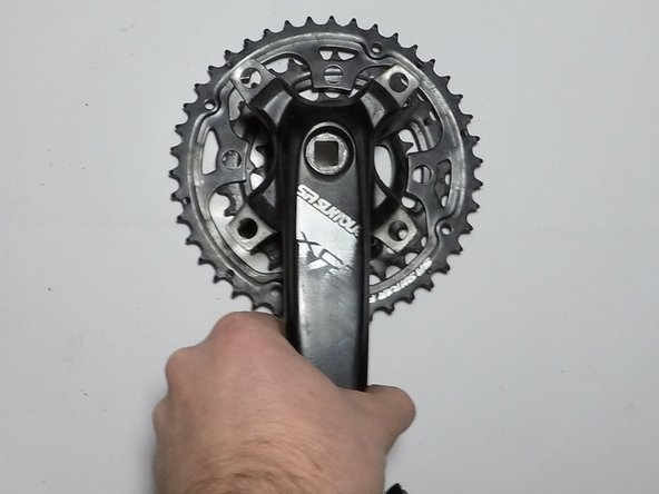 Remove the crank arm from the chainrings.