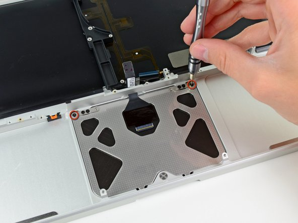 Insert a 1.2 mm Phillips screw into each of the outer holes drilled into the trackpad (two screws total).