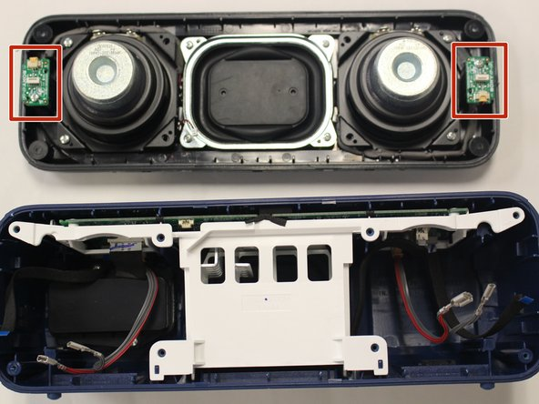After you take the speaker plate off the body of the speaker, locate the LED control panels on each end of the speaker plate.