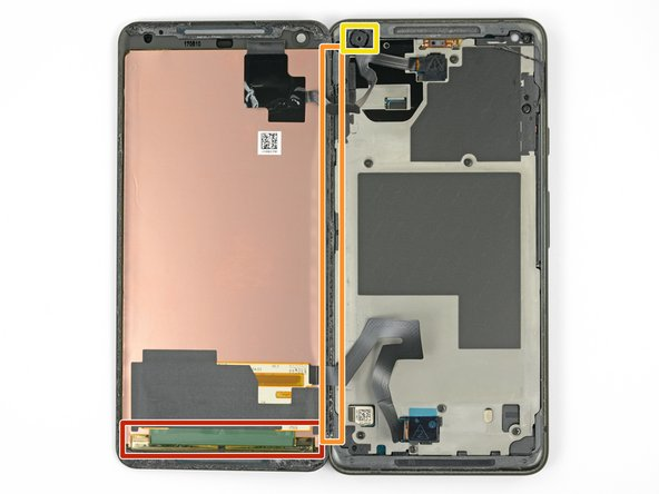 Do not insert the pick more than 0.25 inches into the bottom edge of the phone. If the pick contacts the folded portion of the OLED panel it can damage the display.