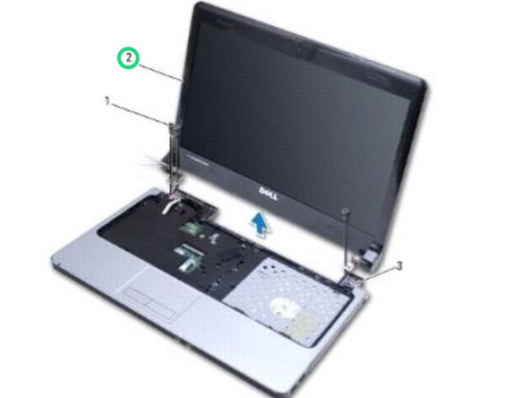 Using the alignment posts, place the display assembly in position and replace the three screws that secure the display assembly to the computer base.