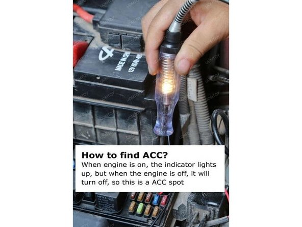 Find the ACC in your fuse box and tap the red wire there.