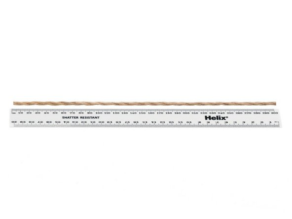 Measure your new rope to the length of the ladder using a ruler.