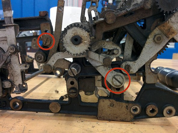 """Remove two screws, #8-36, 10/32"""" and 3/16-32, threaded length 7/16""""."""