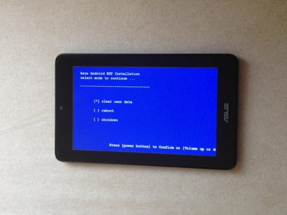 The tablet will go directly to the Android BSP Installation menu