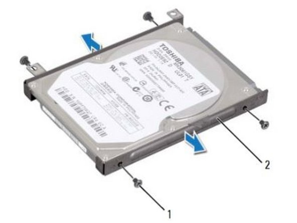 Place the NEW hard drive in the hard-drive bracket.