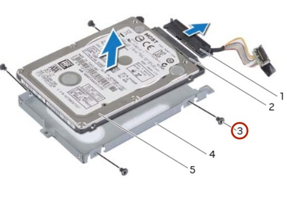 Remove the screws that secure the primary hard-drive to the primary hard-drive bracket.