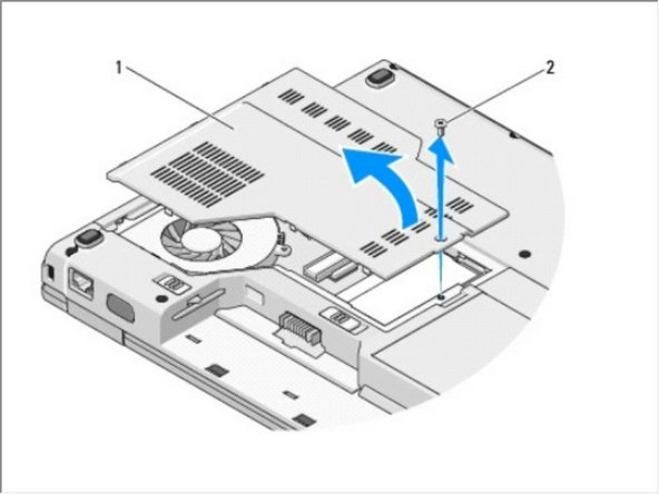 Remove the M2.5 x 5-mm screw that secures the memory cover, and remove the cover and set it aside.