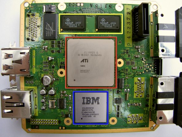 Image 1/2: ATI 'Flipper' GPU, 162 MHz with 3 MB 1T-SRAM embedded within the die