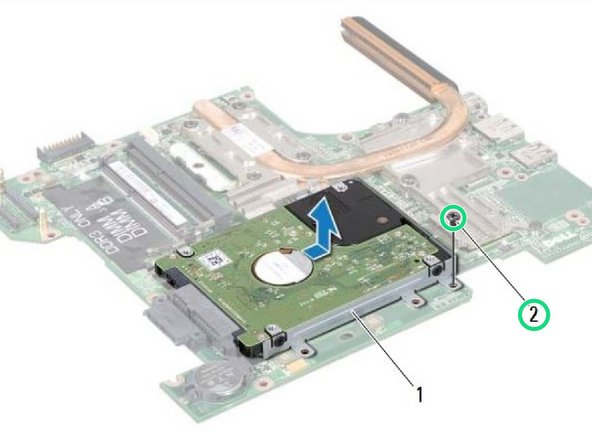 Replace the screw that secures the hard-drive assembly to the system board.