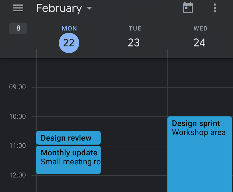 Google Calendar on mobile set to Dark Mode
