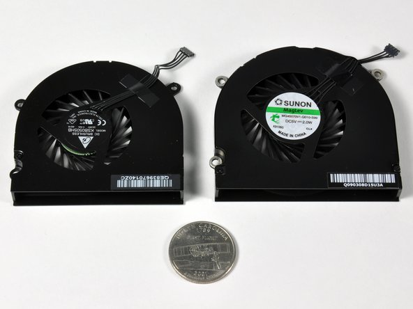 "On left: 15"" Unibody fan. On right: 17"" Unibody fan. Below: A North Carolina 'first-flight' quarter."