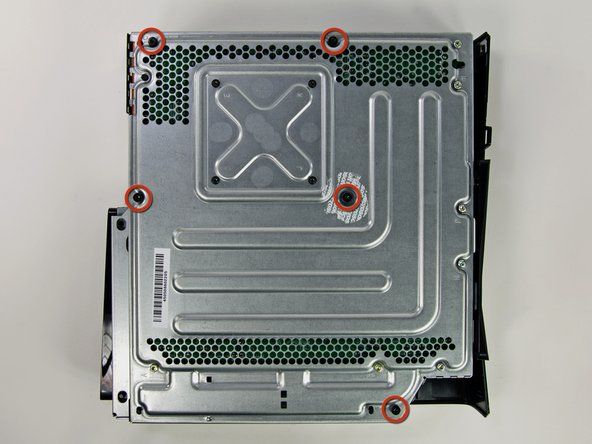 Remove the five 55.5 mm T10 Torx screws securing the right case to the metal frame.