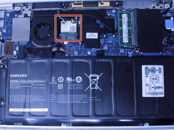 Locate the WiFi card once you've removed the back panel.