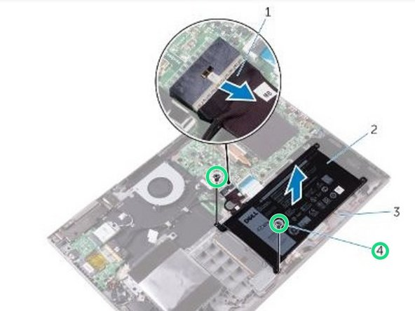 Replace the two screws (M2x3) that secure the battery to the palm rest and keyboard assembly.
