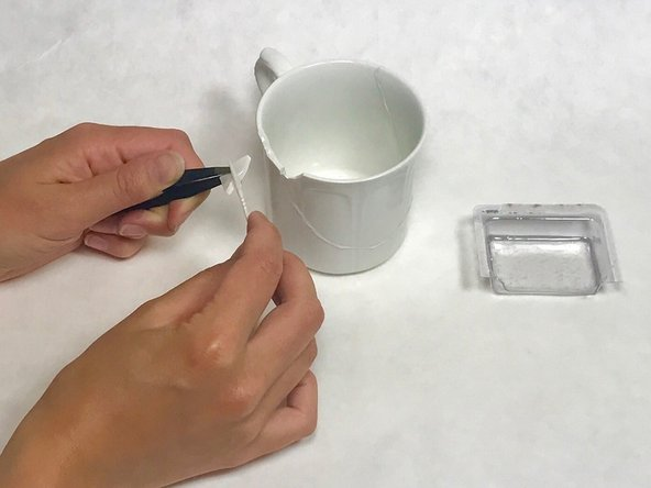 Image 1/2: Use a tweezer to attach smaller fragments.