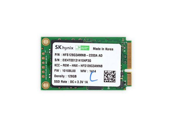 Reprising its starring role in the Pro 2 is this SK Hynix HFS128G3AMNB 128 GB mSATA 6.0 Gbps SSD, featuring the following hardcore hardware: