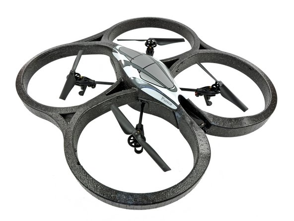Image 1/2: What's cooler than one quadricopter? Two quadricopters, of course! The AR.Drone comes with two hulls: an indoor unit with guards over the propellers (grey/white) and an outdoor unit (orange/blue).