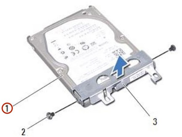 Place the hard-drive bracket on the NEW hard drive.