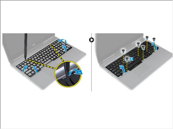 Pry the keyboard trim starting from bottom and work along the top edge and remove it away from the computer [1, 2, 3].