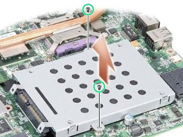 Replace the two screws securing the hard drive assembly to the system board.