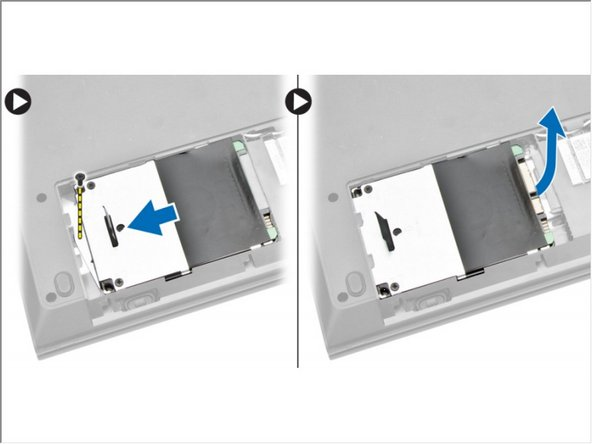 Remove the screw that secures the hard drive to the computer and slide the hard drive from the computer.