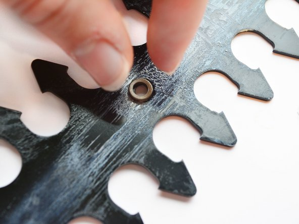 When reassembling the blades again, take care to place the spacers in the designated slots in the blade to provide smooth operation of the blades.