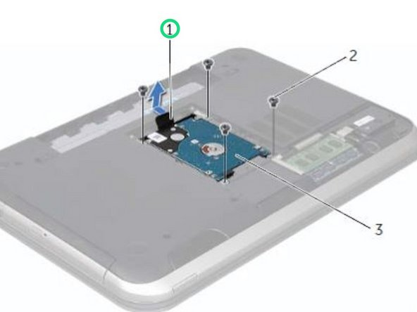 Using the pull-tab, slide the hard-drive assembly toward the front of the computer, to connect the hard-drive assembly to the connector on the system board.