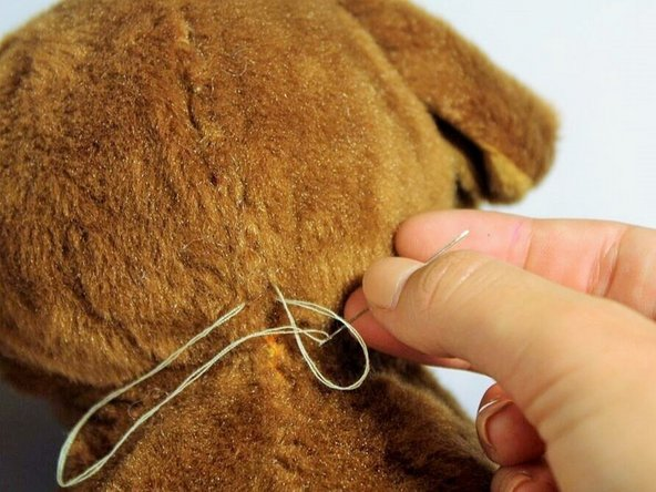 On your final stitch, pull the needle and thread through the loop.