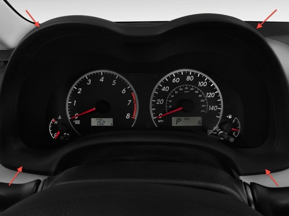 Start by removing the hood over the instrument cluster. Pull the hood straight out towards the steering wheel.