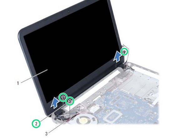 Remove the screws that secure the display assembly to the computer base.
