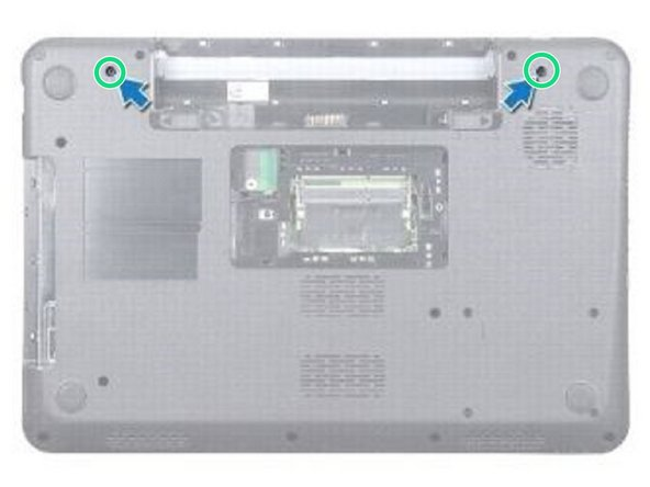 Turn the computer over and replace the two screws at the bottom of the computer.