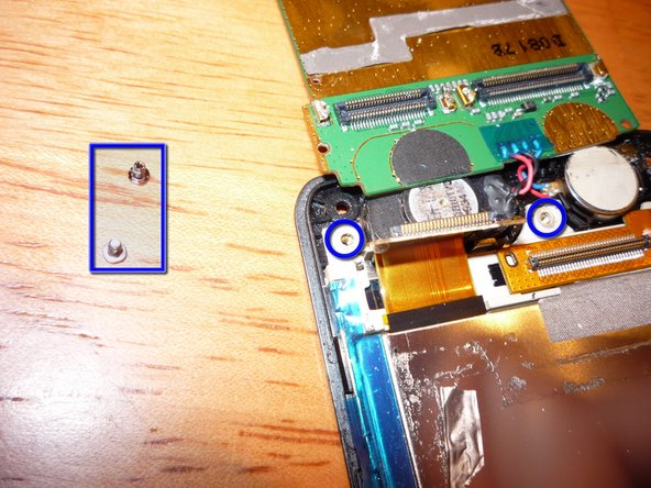 Remove 2 small silver screws from the LCD support frame. They are the same size.