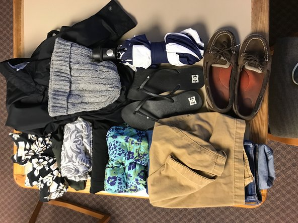 If possible, wear your bulkiest clothes and shoes on the airplane to provide more space in your baggage. For example, this would be a pair of boots, a winter coat, or a large scarf. You can also layer clothes in order to wear more of your items