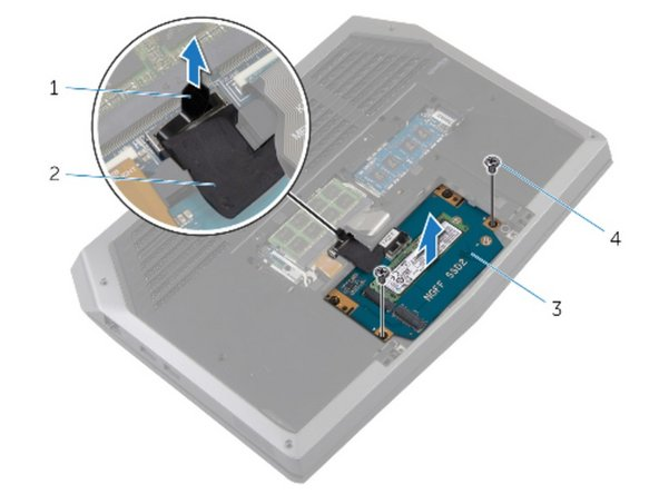 Connect the solid-state drive cable to the system board.