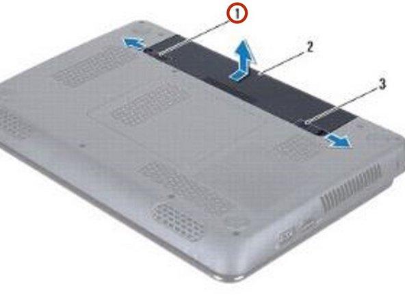 Deslice el pestillo de liberación de la batería hacia un lado.