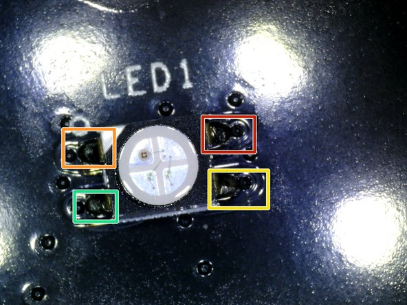 This picture is a close up of the LED with the highlighted areas you need to unsoldered.