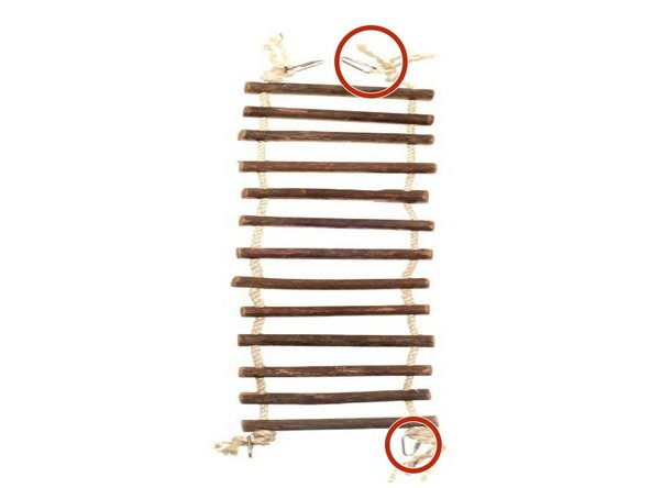 Add clips to the ends of the rope and attach to the small animal cage.