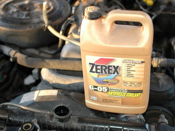 If the coolant is low it should be topped off with half distilled water and half coolant, if using full-strength concentrated coolant.